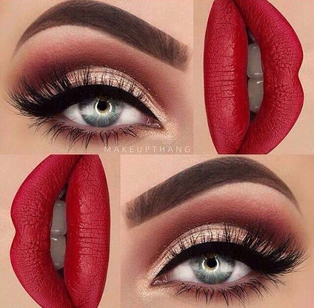 क्लासिक Eyeliner and Red Lips for Fall Makeup Looks