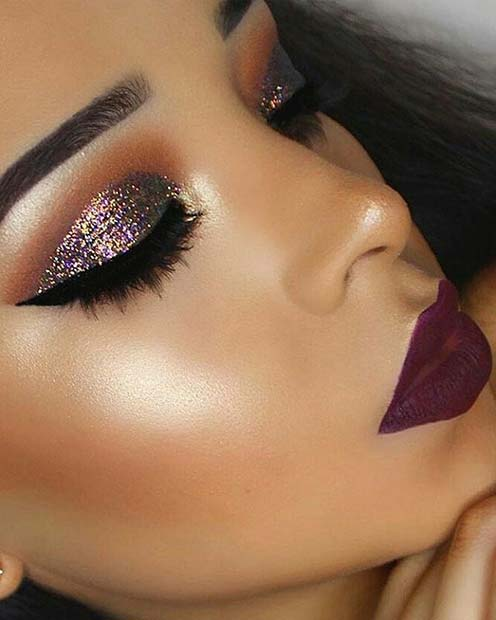 sparkly Glitter Makeup for Fall Makeup Looks