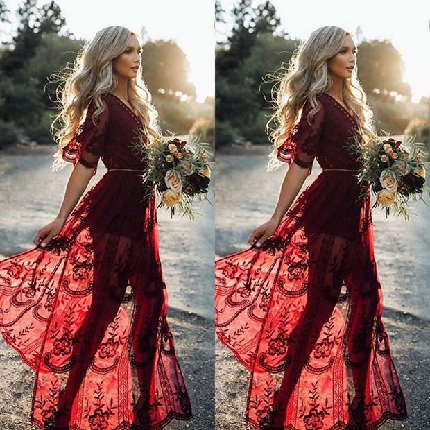 odvažan Fall Boho Bridesmaid Dress Idea for Fall Wedding Ideas