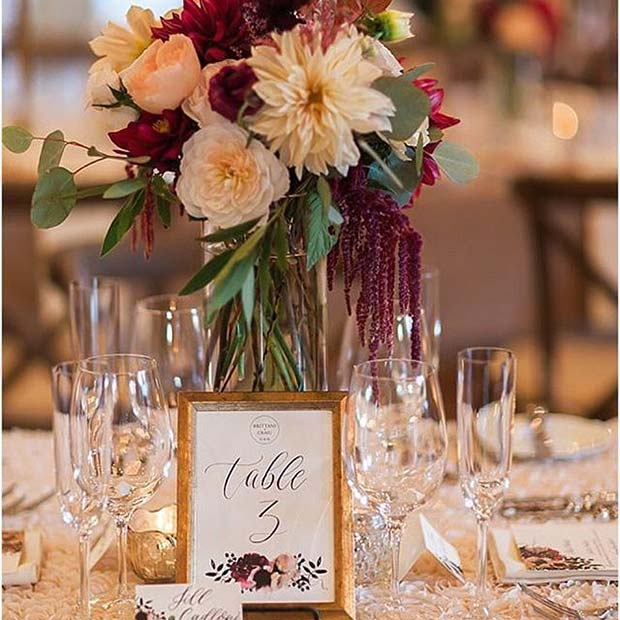 Elegantan Fall Wedding Reception Table Idea for Fall Wedding Ideas