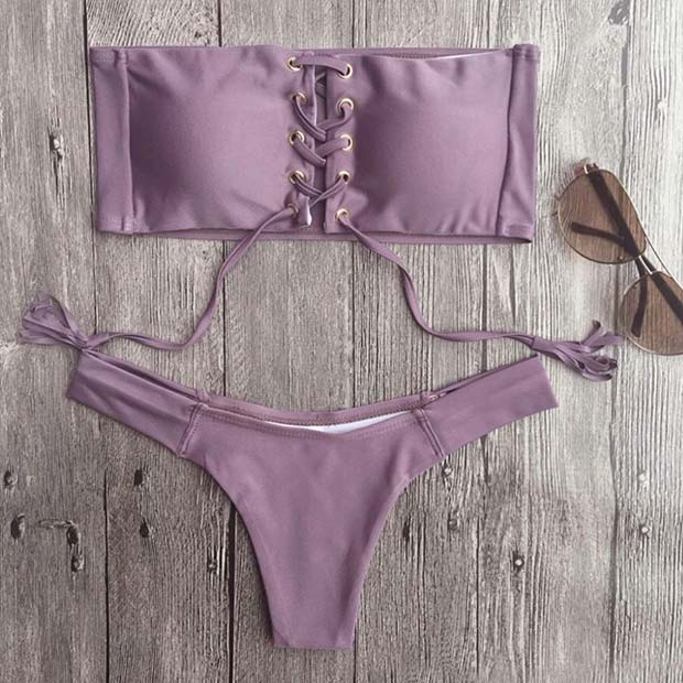 Светло Purple Lace up Two Piece Bathing Suit for Summer 2017