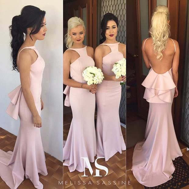 เบา Pink Bridesmaid Dresses