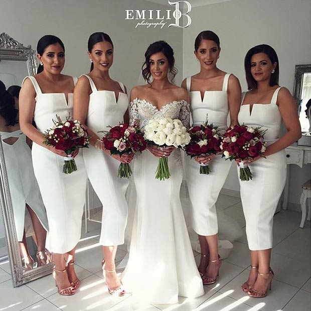 ขาว Bodycon Midi Dresses for Bridesmaids