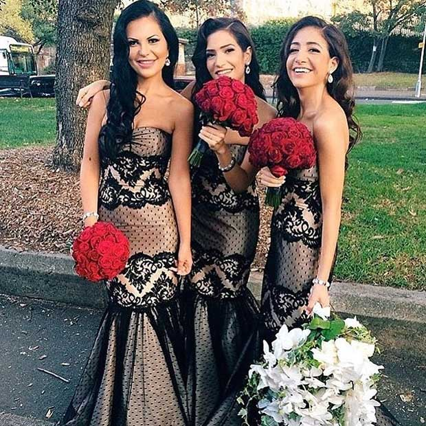 สีดำ Lace Mermaid Dresses for Bridesmaids