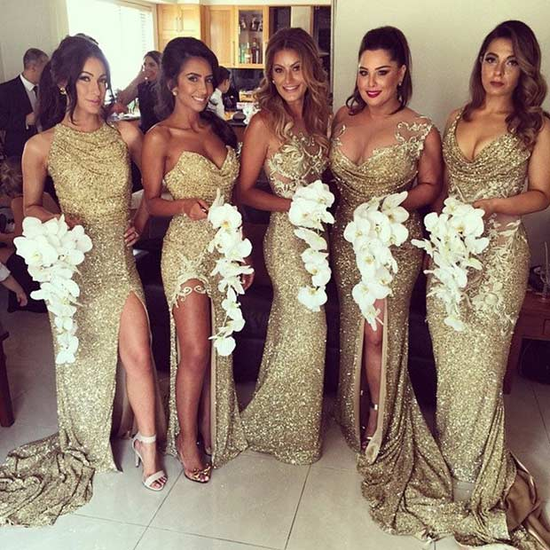 ทอง Sequin Mismatched Dresses for Bridesmaids