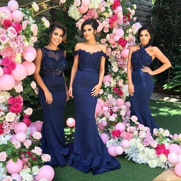 ยาว Navy Blue Dresses for Bridesmaids