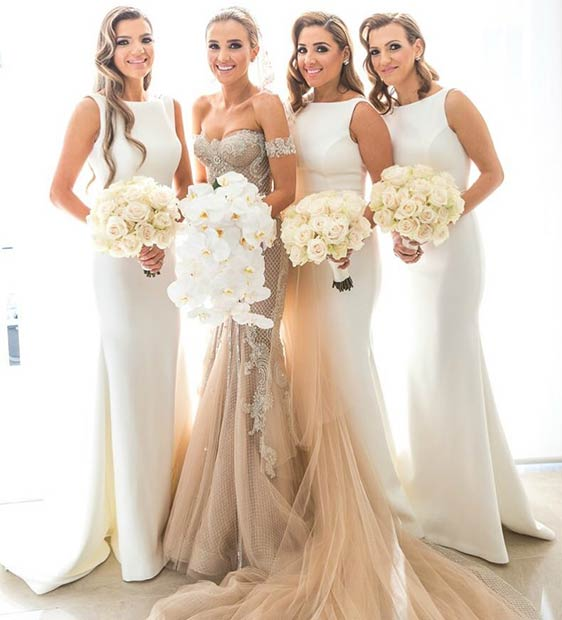 ยาว White Dresses for Bridesmaids