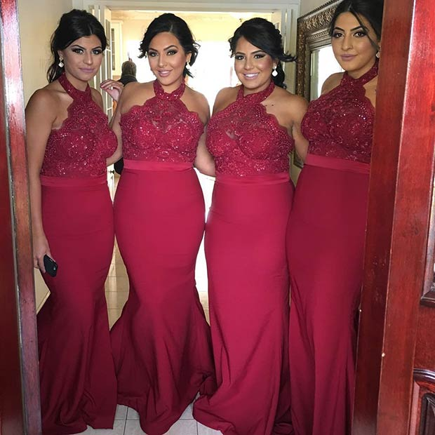 ยาว Lace Burgundy Dresses for Bridesmaids