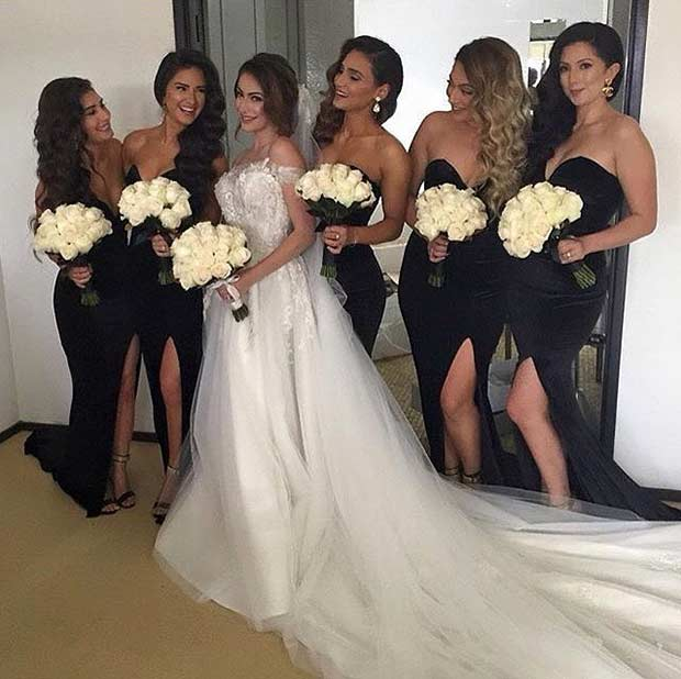 เซ็กซี่ Black Sleeveless Dresses for Bridesmaids