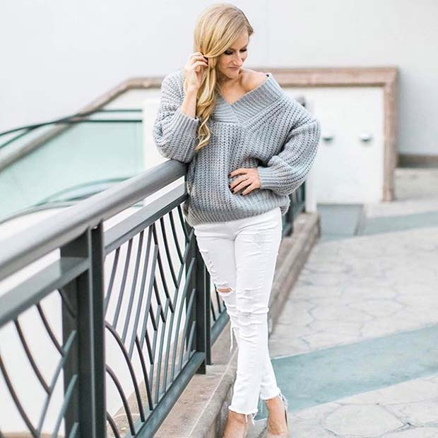Греи Sweater and White Jeans for Spring 2017 Women's Outfit Idea