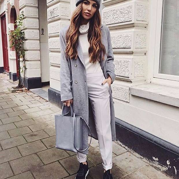 Цхиц Grey Coat for Spring 2017 Women's Outfit Idea