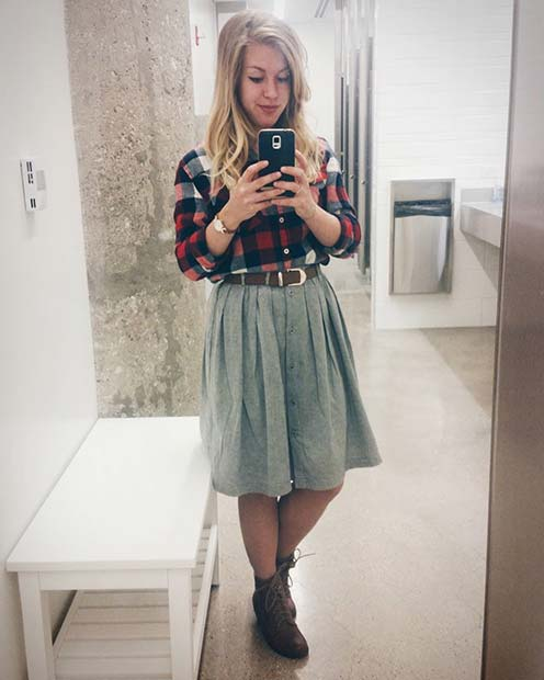 Слатко Flannel Shirt and Skirt for Flannel Outfit Ideas for Fall
