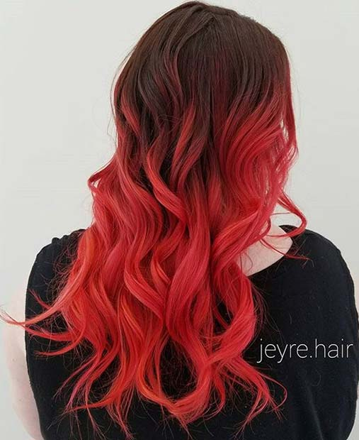 odvažan Coral, Red and Orange Tone Ombre for Brunettes