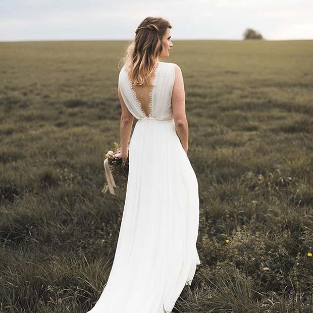 Прилично Open Back Dress for Summer Wedding Dresses for Brides