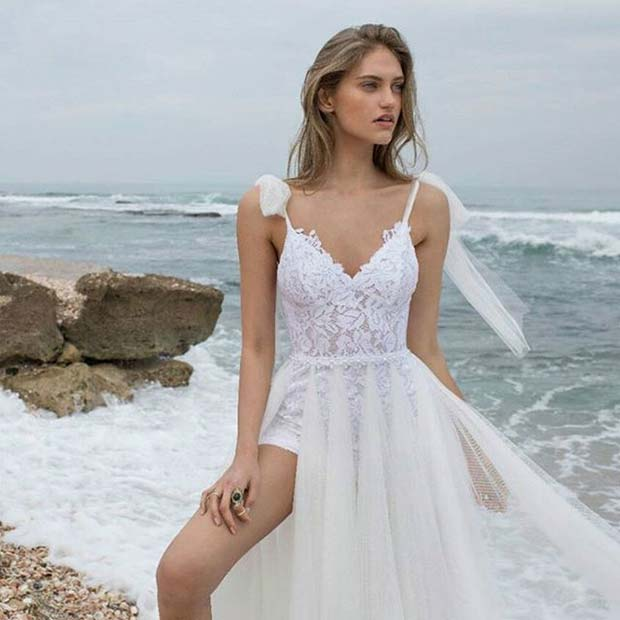 Флоати Beach Bridal Dress for Summer Wedding Dresses for Brides