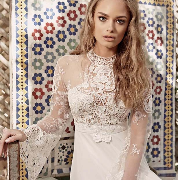 Бохо Lace Sleeved Dress for Summer Wedding Dresses for Brides