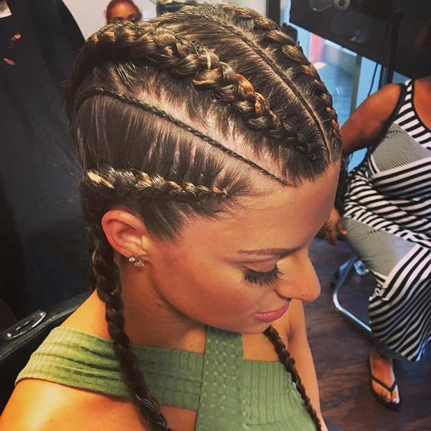 Büyük and Small Straight Back Cornrows for White Girls