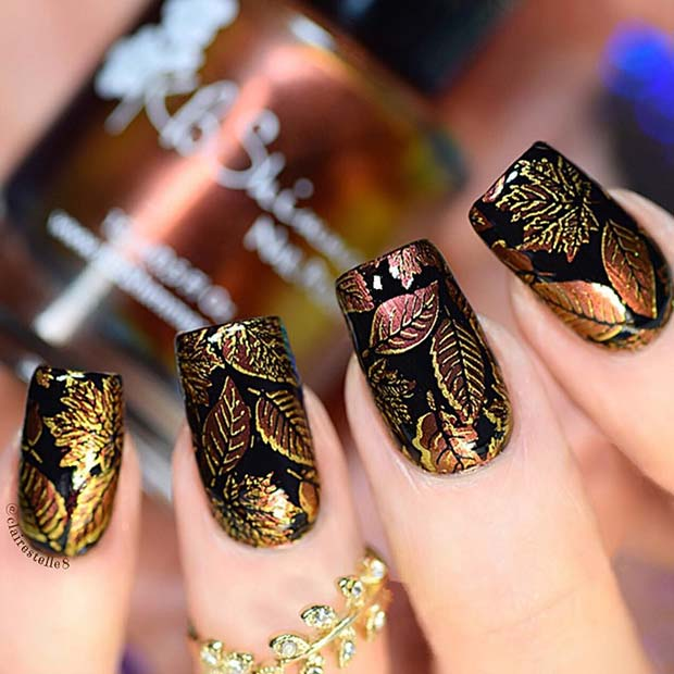 Crno Nails with Fall Leaf Design for Fall Nail Design Ideas