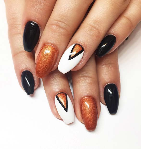 Crno, Orange and White Fall Nails for Fall Nail Design Ideas