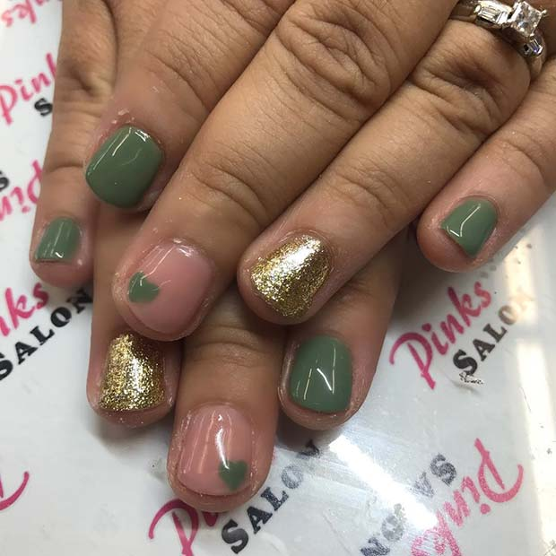 zelena and Gold Glitter Nails for Fall Nail Design Ideas