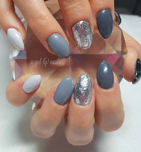 nijanse of Grey and Glitter for Fall Nail Design Ideas