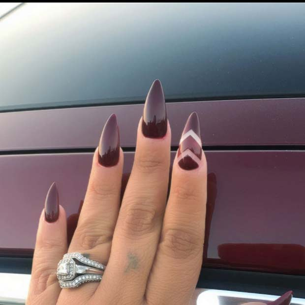 burgundac Nails with Chevron Accent Nail for Fall Nail Design Ideas