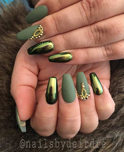 mată Green and Metallic Nail Art Design