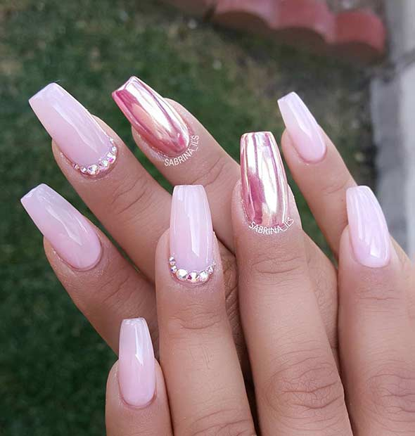 Bebelus Pink and Metallic Nail Art Design