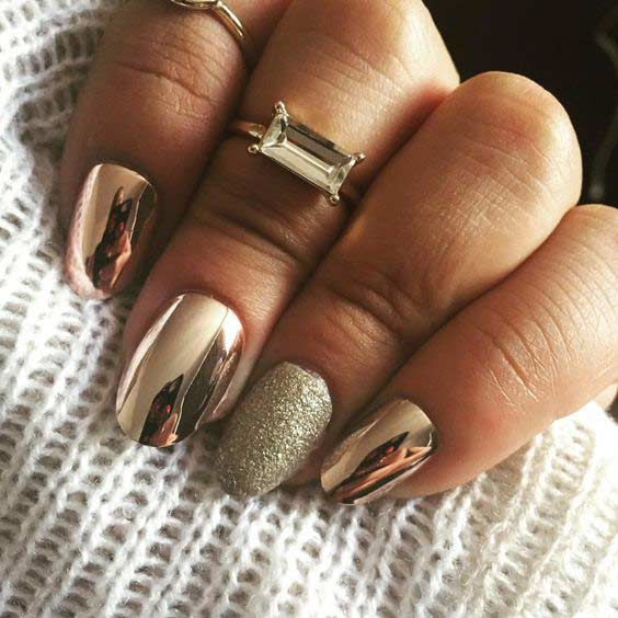 Aur Metallic Chrome Nail Design