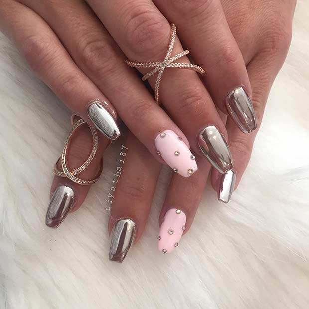 Bebelus Pink and Silver Metallic Nail Art Design