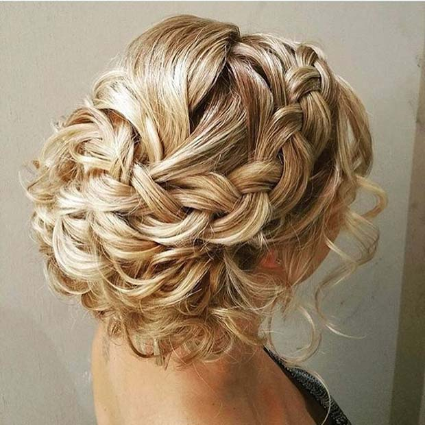 गोरा Braided Updo with Loose Curls for Prom