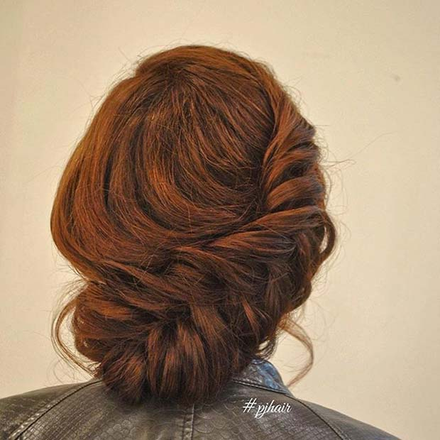 बड़े Side Fishtail Braid Updo for Prom