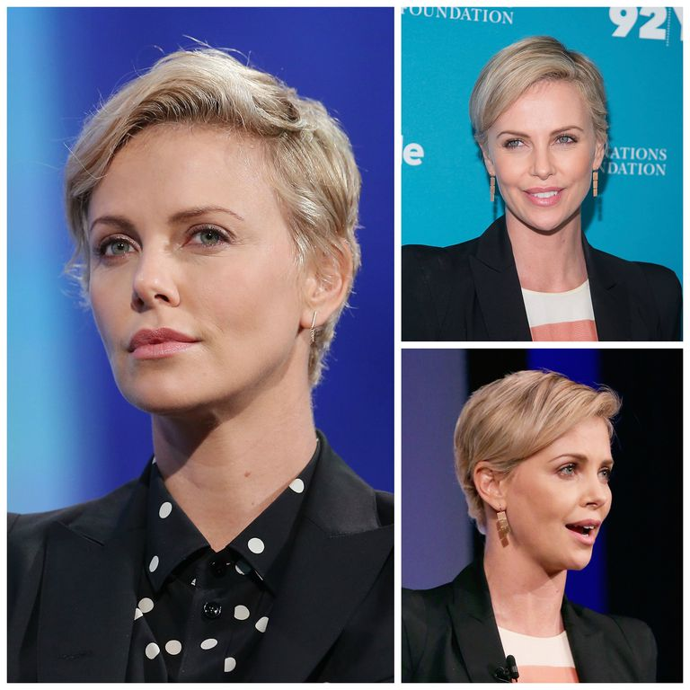 चार्लीज़ Theron with a pixie haircut