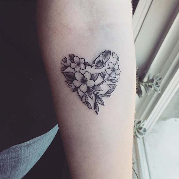 Çiçek Heart Design for Flower Tattoo Ideas for Women