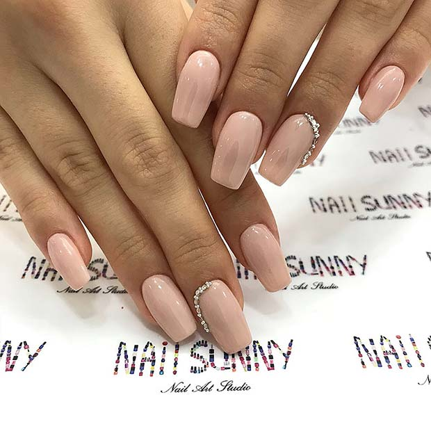 Zarif Nude Nails with Bling