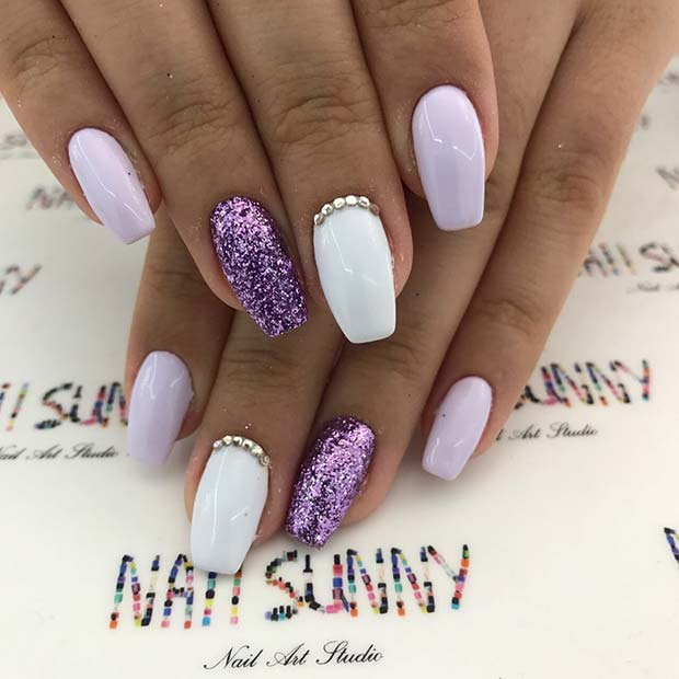 canlı Purple Glitter Nails