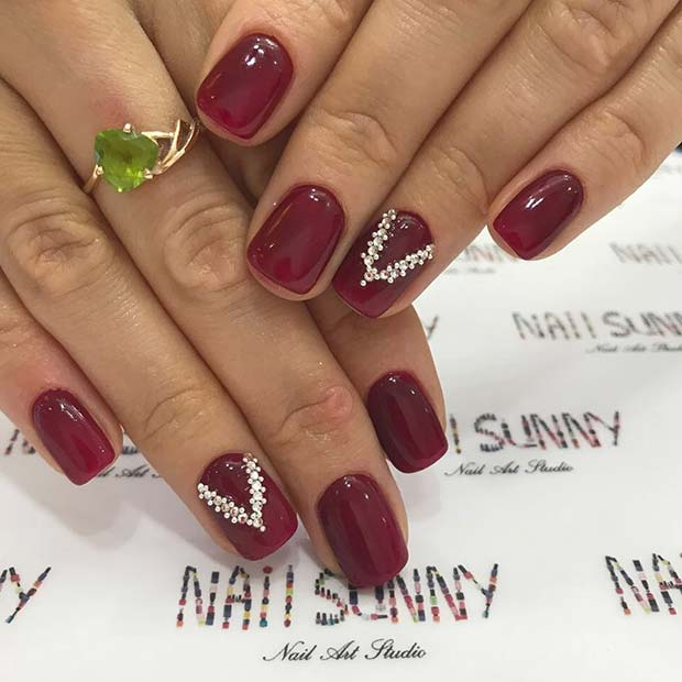 Zarif Dark Red Nails with Rhinestones