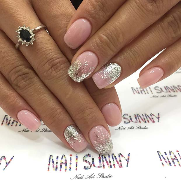 Pembe and Silver Glitter Prom Nails