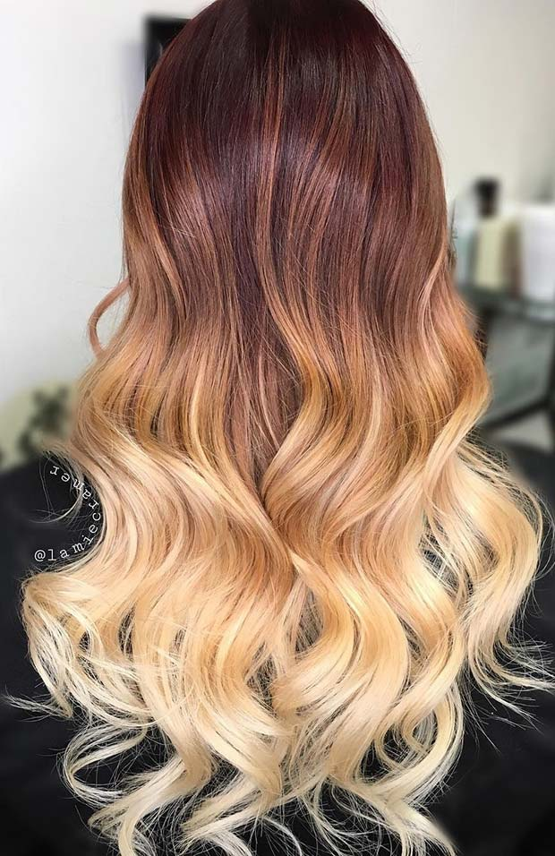 Crvena to Blonde Ombre Hair