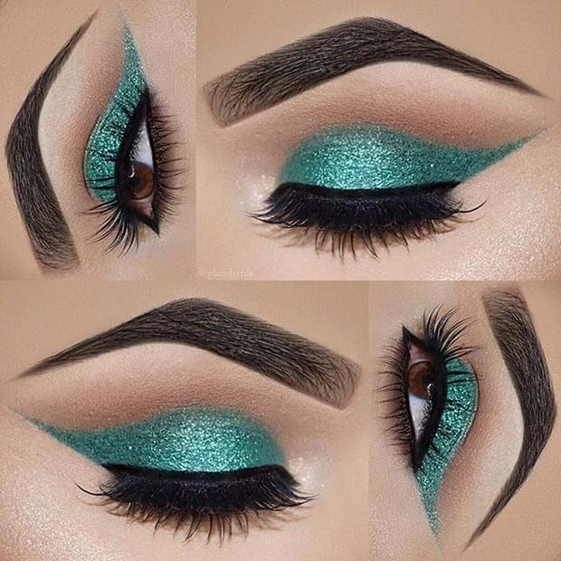 Fény Green Sparkly Eyes for Summer Makeup Ideas