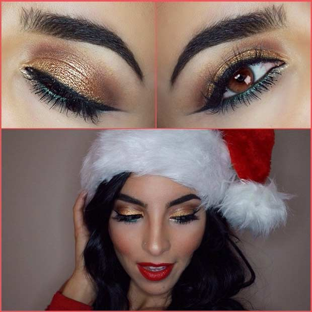 Festiv Green and Gold Christmas Makeup Idea