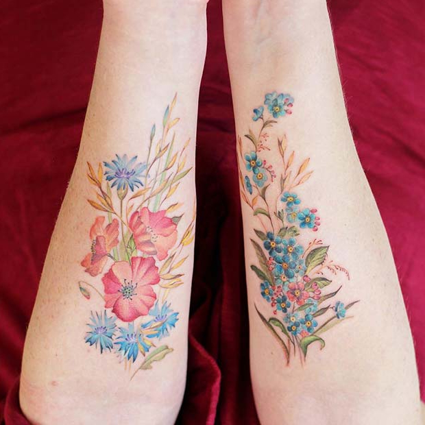 Prilično Flower Tattoos for Siblings