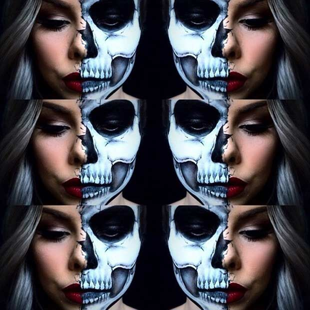 חֲצִי Face Skull Halloween Makeup Idea