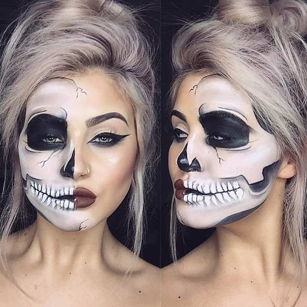 חֲצִי Skull Halloween Makeup Look