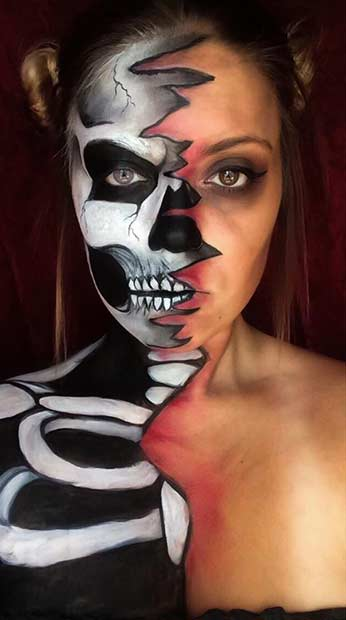 מְצַמרֵר Halloween Skeleton Makeup Look