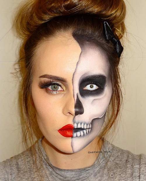 חֲצִי Faced Halloween Skeleton Makeup Look