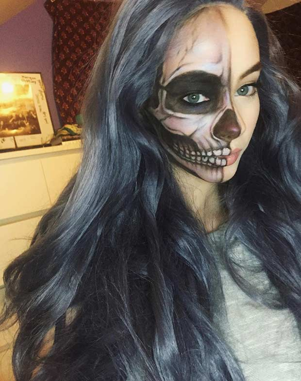 חֲצִי Face Halloween Makeup Idea