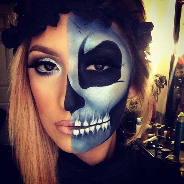 כָּחוֹל Half Face Skeleton Makeup Look