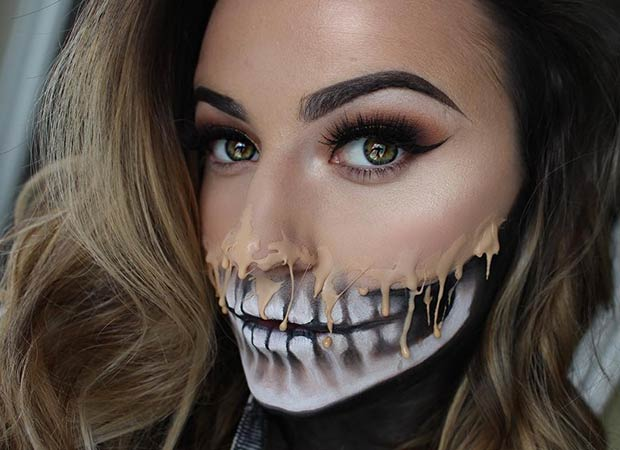 הַתָכָה Skull Halloween Makeup Look