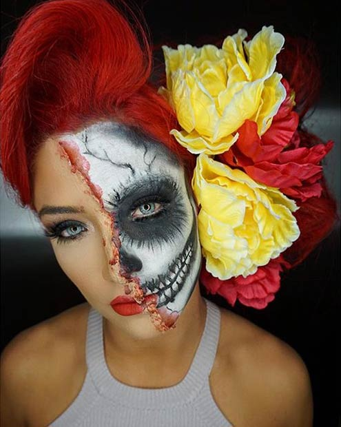חֲצִי Face Skull Halloween Makeup Look